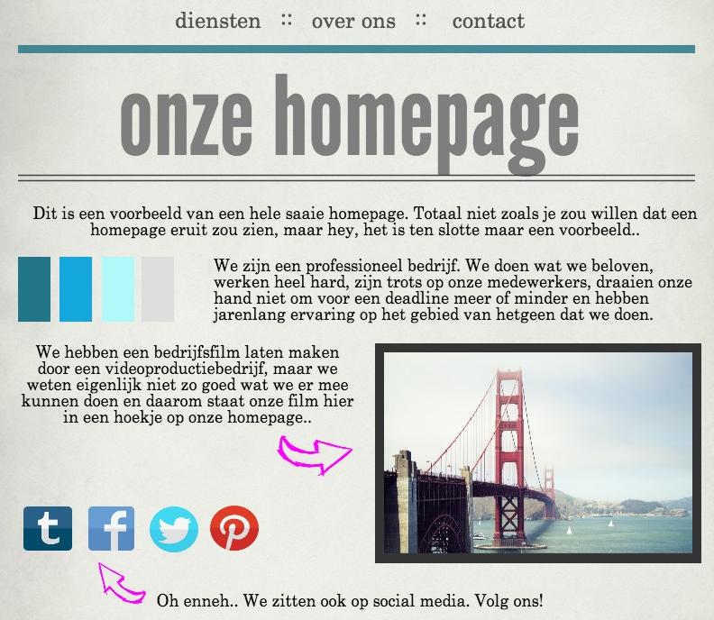 homepage voorbeeld